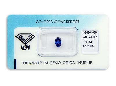 safír 1.01ct deep blue (tepelně neupraven) s IGI certifikátem