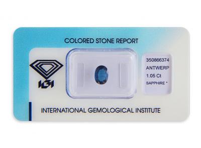 safír 1.05ct blue s IGI certifikátem