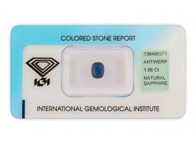 safír 1.06ct dark blue s IGI certifikátem