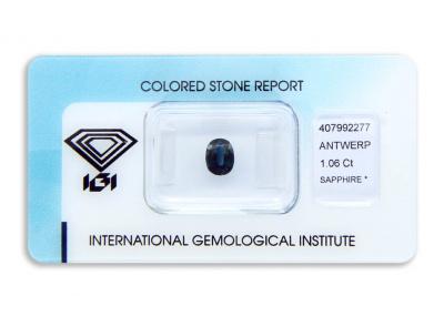 safír 1.06ct deep blue s IGI certifikátem
