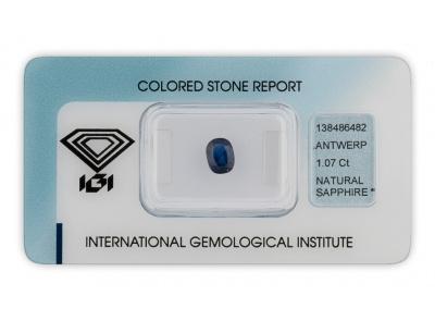 safír 1.07ct dark blue s IGI certifikátem