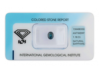 safír 1.16ct greenish blue s IGI certifikátem