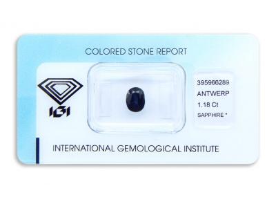 safír 1.18ct dark blue s IGI certifikátem