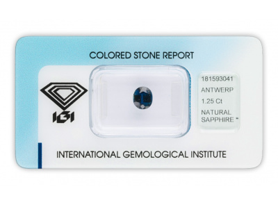 safír 1.25ct dark blue (tepelně neupraven) s IGI certifikátem