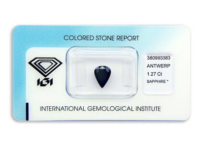 safír 1.27ct dark blue s IGI certifikátem