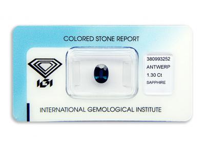 safír 1.30ct deep blue (tepelně neupraven) s IGI certifikátem