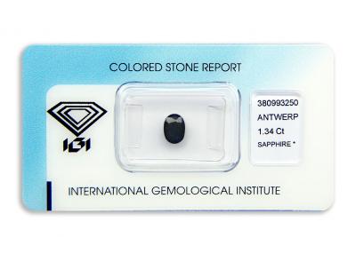 safír 1.34ct dark blue s IGI certifikátem