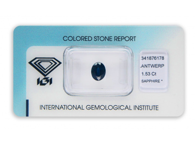 safír 1.53ct deep blue s IGI certifikátem