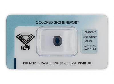 safír 1.68ct dark blue s IGI certifikátem