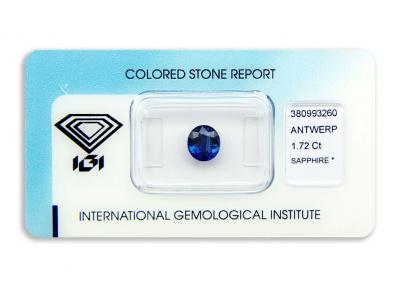 safír 1.72ct deep blue s IGI certifikátem