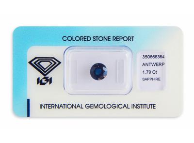 safír 1.79ct dark blue (tepelně neupraven) s IGI certifikátem