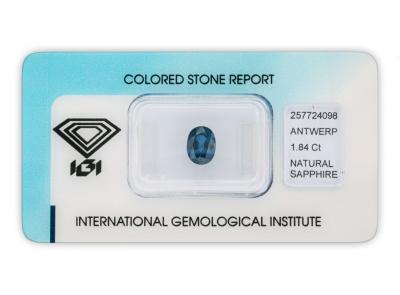 safír 1.84ct blue s IGI certifikátem