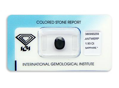 safír 1.93ct dark blue s IGI certifikátem