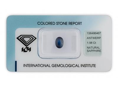 safír 1.98ct dark blue s IGI certifikátem