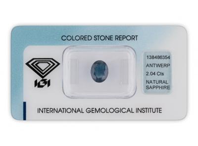 safír 2.04ct dark blue s IGI certifikátem