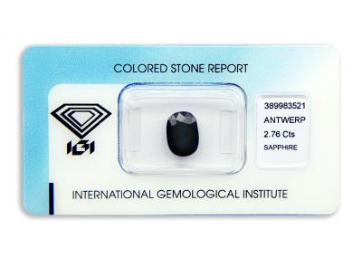 safír 2.76ct dark blue (tepelně neupraven) s IGI certifikátem