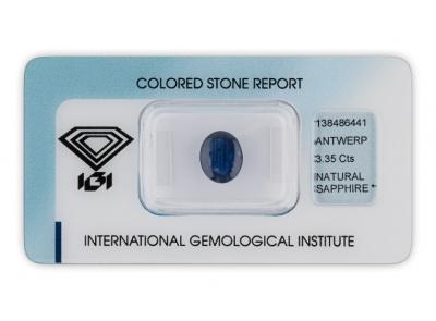 safír 3.35ct dark blue s IGI certifikátem