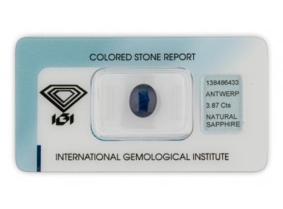 safír 3.87ct deep blue s IGI certifikátem