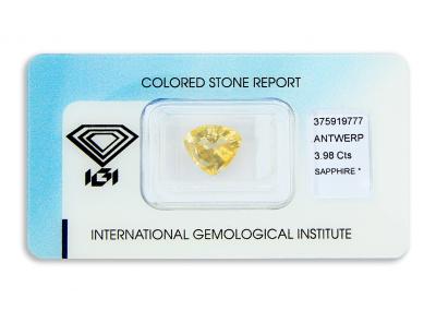 safír 3.98ct orangy yellow s IGI certifikátem