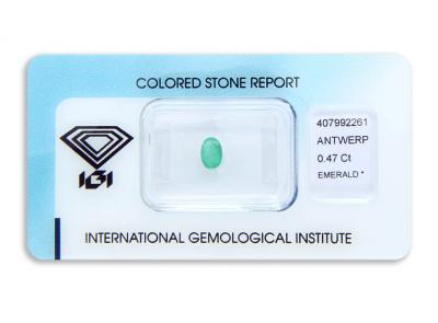 smaragd 0.47ct green s IGI certifikátem