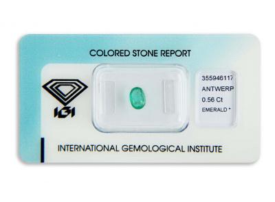 smaragd 0.56ct green s IGI certifikátem