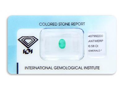 smaragd 0.58ct green s IGI certifikátem