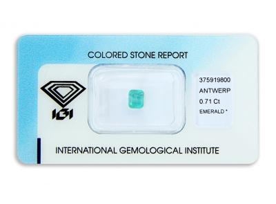 smaragd 0.71ct green s IGI certifikátem