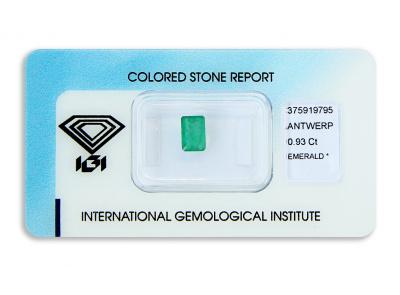 smaragd 0.93ct green s IGI certifikátem