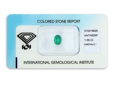 smaragd 1.00ct deep bluish green s IGI certifikátem