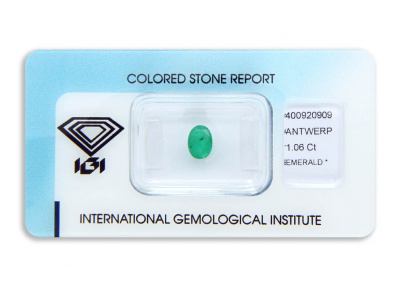 smaragd 1.06ct green s IGI certifikátem