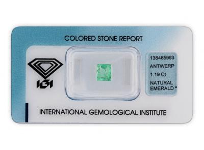 smaragd 1.19ct light green s IGI certifikátem