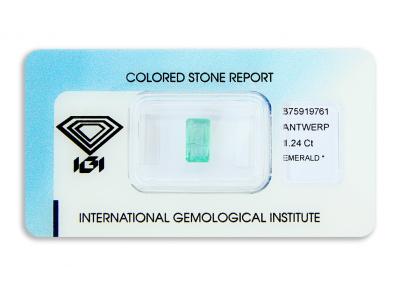 smaragd 1.24ct green s IGI certifikátem