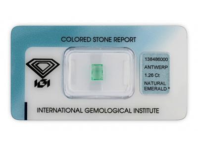smaragd 1.26ct light green s IGI certifikátem