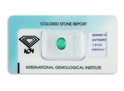 smaragd 1.31ct green s IGI certifikátem