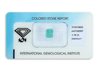 smaragd 1.76ct green s IGI certifikátem