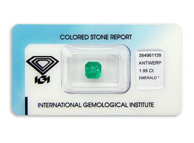 smaragd 1.95ct green s IGI certifikátem