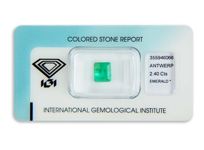 smaragd 2.40ct deep green s IGI certifikátem