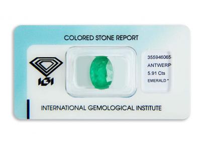 smaragd 5.91ct deep green s IGI certifikátem