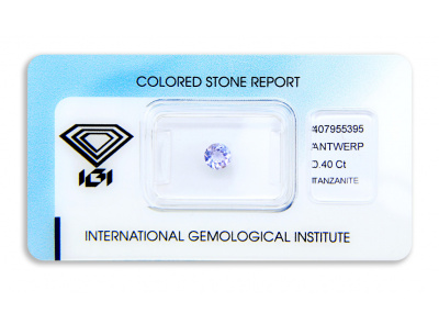 tanzanit 0.40ct bluish violet s IGI certifikátem