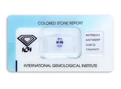 tanzanit 0.69ct bluish purple s IGI certifikátem