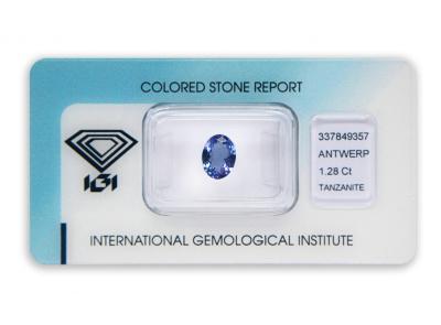 tanzanit 1.28ct violetish blue s IGI certifikátem