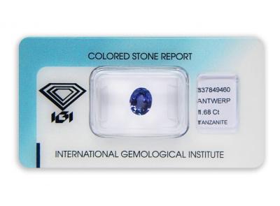 tanzanit 1.68ct blue-violet s IGI certifikátem