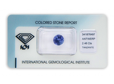 tanzanit 2.46ct bluish violet s IGI certifikátem