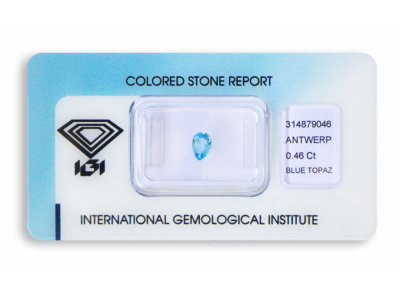 topaz 0.46ct blue s IGI certifikátem