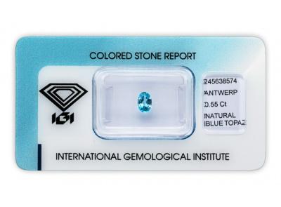 topaz 0.55ct blue s IGI certifikátem