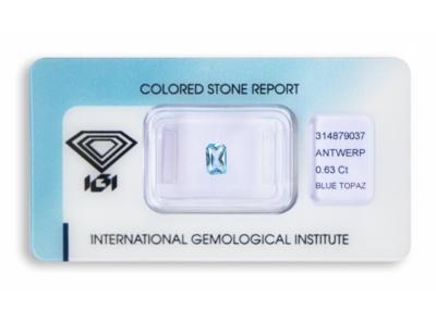 topaz 0.63ct blue s IGI certifikátem