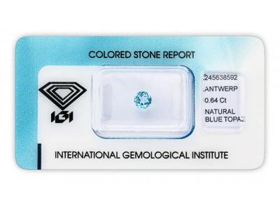 topaz 0.64ct blue s IGI certifikátem