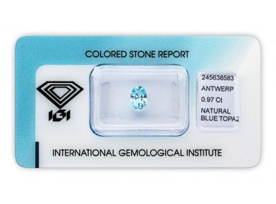 topaz 0.97ct blue s IGI certifikátem