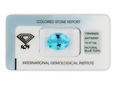 topaz 10.07ct blue s IGI certifikátem