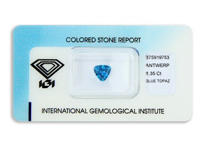 topaz 1.35ct deep blue s IGI certifikátem